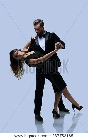 Passionate attractive casual couple dancing.
