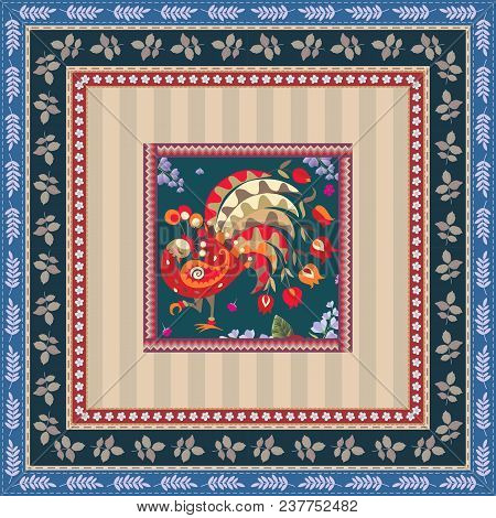 Pillowcase With Fiery Peacock And Botanical Frame. Indian Motif.