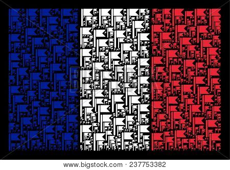 France Flag Collage Constructed Of Flag Elements. Vector Flag Objects Are Organized Into Geometric F