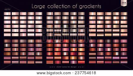 Copper Bronze Red Gradients Collection. Set Of Metallic Gradient Illustrations For Coin, Ribbons, Co