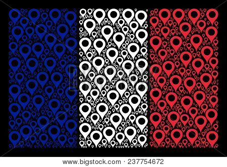 French State Flag Mosaic Created Of Map Marker Elements. Vector Map Marker Design Elements Are Organ