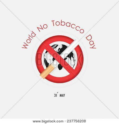 World Map Icon And Quit Tobacco Vector Logo Design Template.world No Tobacco Day.no Smoking Day Awar