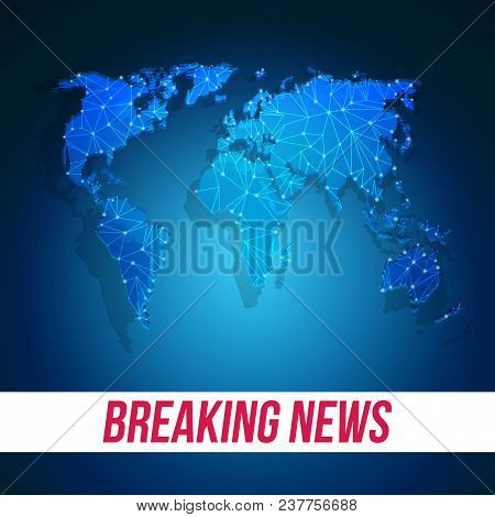 Breaking News Screen Template. Tv Background With Abstract World Map.