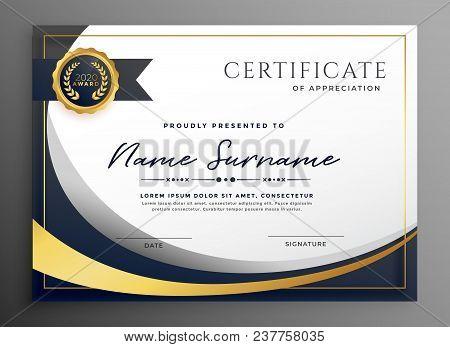 Premium Wavy Certificate Template Design Vector Illustration