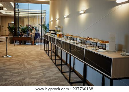MOSCOW, RUSSIA - OCT 19, 2017: Cafeteria in Hilton Garden hotel during Compliance Case Forum 2017. The organizer was the company Business Summit of Future.