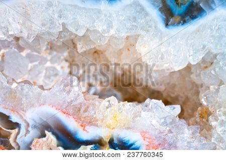 Macro Shooting Of Natural Gemstone. The Texture Of The Mineral Geode Chalcedony. Abstract Background