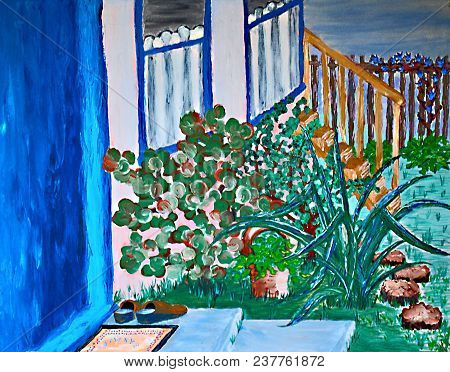 Acrylic Painting On Canvas Of Garden, Windows, Front Door And Stairway