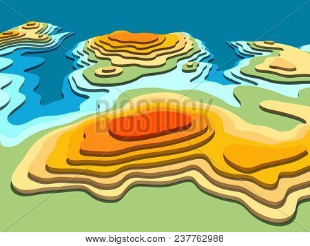 3d Digital Conceptual High-altitude Topographic Map. Sea, Peninsula, Mountains, Hills, Valleys. 3d R