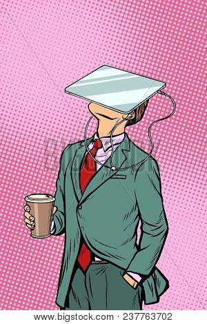 Businessman Drinking Coffee And Watching Tablet Virtual Reality. Pop Art Retro Comics Cartoon Vector