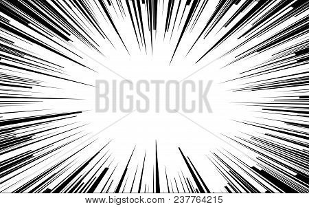 Light Rays. Comic Book Black And White Radial Lines Background. Rectangle Fight Stamp For Card. Mang