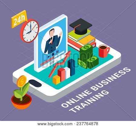 Webinar Multicolored And Isometric Composition With Online Business Training Headline And Isolated E