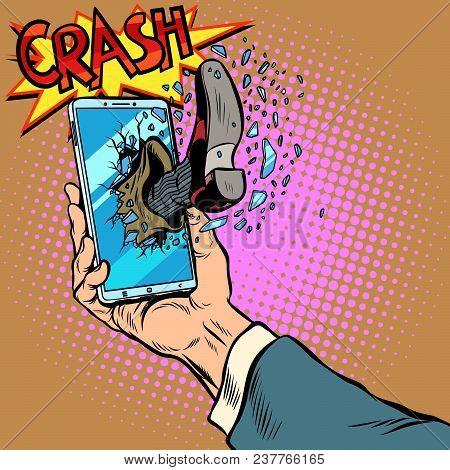 Hacking The Phone, Concept. Leg Breaks Smartphone Screen. Pop Art Retro Vector Illustration Comic Ca