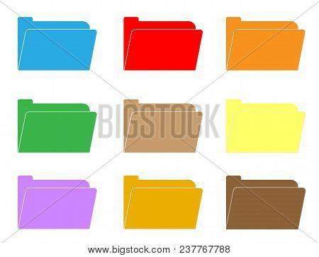 Computer Folder Icon On White Background. Folder Sign. Flat Style. Colorful Folder Icon Set.