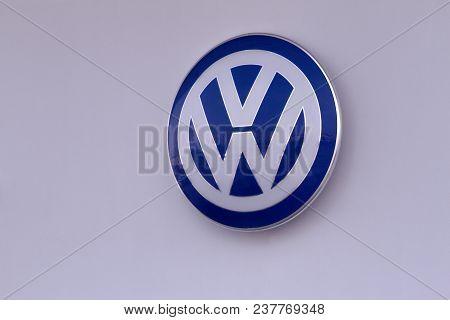 Vilnius, Lithuania- April 12, 2018: Volkswagen Logo On Dealer Building Wall. Volkswagen Is A German