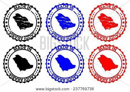 Made In Saudi Arabia - Rubber Stamp - Vector, Saudi Arabia Map Pattern - Black, Blue And Red