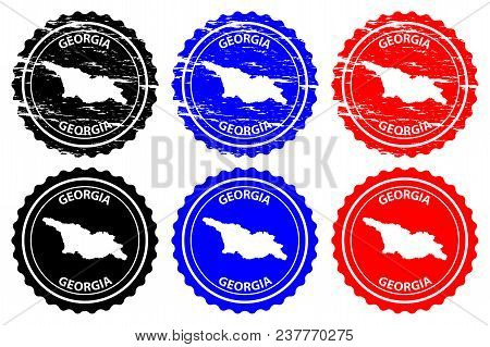 Georgia - Rubber Stamp - Vector, Georgia Map Pattern - Sticker - Black, Blue And Red