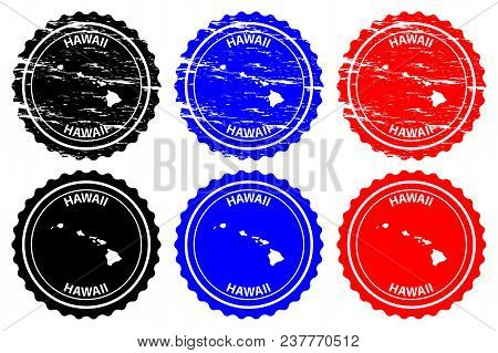 Hawaii - Rubber Stamp - Vector, Hawaii Map Pattern - Sticker - Black, Blue And Red