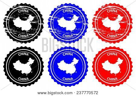China - Rubber Stamp - Vector, China Map Pattern - Sticker - Black, Blue And Red