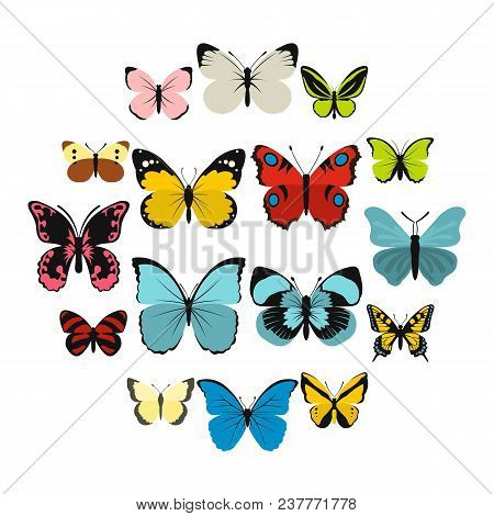 Flat Butterfly Icons Set. Universal Butterfly Icons To Use For Web And Mobile Ui, Set Of Basic Butte
