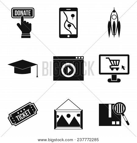 Network Resources Icons Set. Simple Set Of 9 Network Resources Vector Icons For Web Isolated On Whit