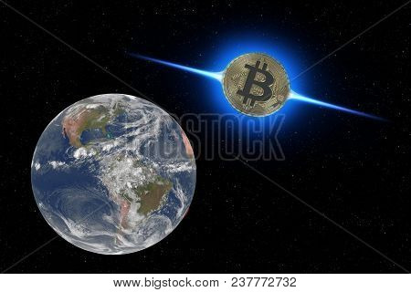 Coin Bitcoin Flies To Earth From Outer Space. New Technologies, Values. The Invasion Of Bitcoins. El