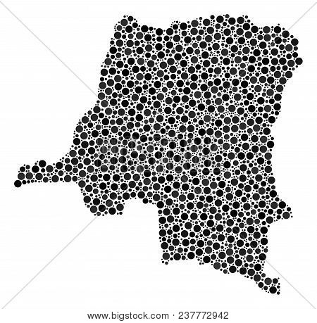 Democratic Republic Of The Congo Map Mosaic Of Round Spots In Variable Sizes. Scattered Round Elemen