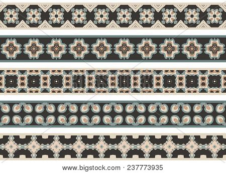Set Of Five Illustrated Decorative Borders Made Of Abstract Elements In Beige, Turqoise, Brown And B