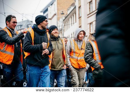 Strasbourg, France  - Mar 22, 2018: Train Workers From Sncf At Demonstration Protest Against Macron