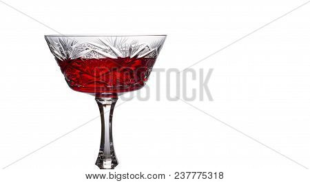 Red Wine In A Vintage Glass On A White Background Delicious Alcoholic Drink Made From Grapes