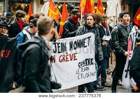 Strasbourg, France  - Mar 22, 2018: Young People At Demonstration Protest Against Macron French Gove