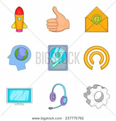 Technical Innovation Icons Set. Cartoon Set Of 9 Technical Innovation Vector Icons For Web Isolated