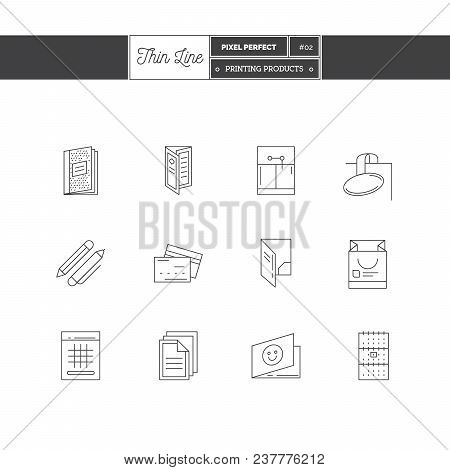 Thin Line Icon Set Of Printing Objects, Corporate Identity Objects And Tools Elements. Corporate Ide