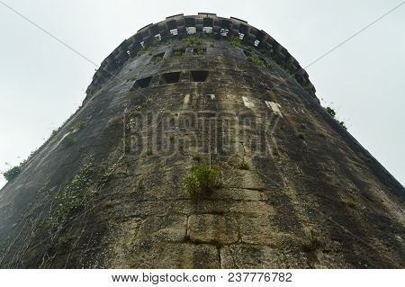 Infinity Gun Turret From The Side Facade Of The Butron Castle, Castle Built In The Middle Ages. Arch