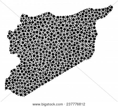 Syria Map Collage Of Circle Elements In Various Sizes. Randomized Dots Are Arranged Into Syria Map M