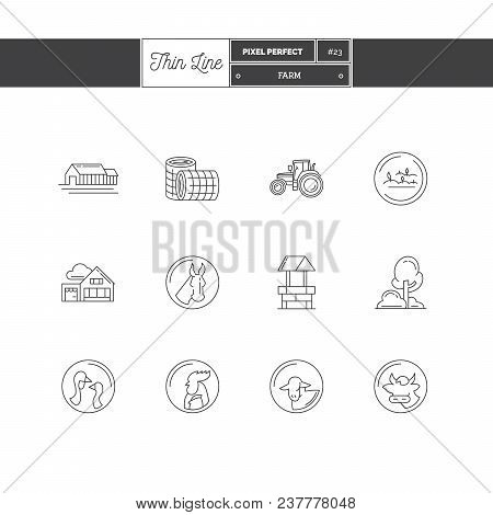 Line Icons Set Of Farm Objects And Tools Elements. Farm, Farm Animals, Poultry, Organic Farming, Far