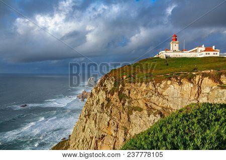 Wide Angle View Of Cabo Da Roca Over The Cliffs, Portugal