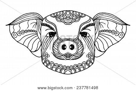 Pig Zodiac Line Art. Hand Drawn And Animal Concept. Black And White For Painting. Vecture Illustrati