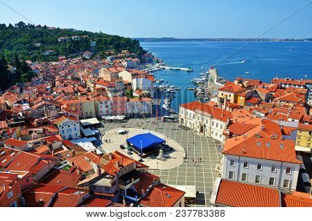 Town Square In Piran City, Urban Ans Sea Landscape, Slovenia