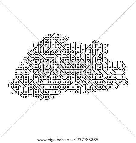 Abstract Schematic Map Of Bhutan From The Black Printed Board, Chip And Radio Component Of Vector Il