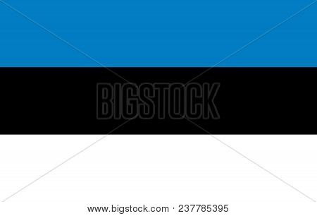 Silhouette Country Borders Map Of Estonia On National Flag Background Of Vector Illustration
