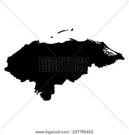 Black Silhouette Country Borders Map Of Honduras On White Background Of Vector Illustration