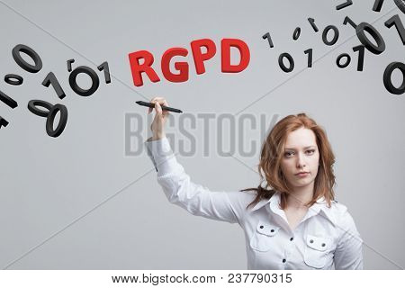 RGPD, Spanish, French and Italian version version of GDPR: Reglamento General de Proteccion de datos. General Data Protection Regulation. Young woman working with information.