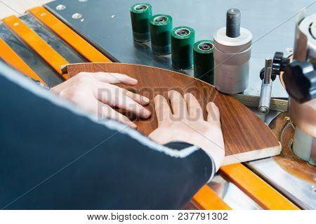Carpenter Works For Edge Banding Machine In Workshop.