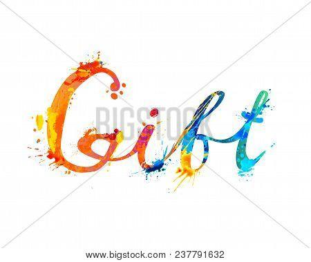 Gift. Hand Written Vector Word Of Rainbow Splash Paint