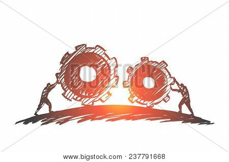 Vector Hand Drawn Work Concept Sketch With People Pulling Huge Cogwheels Towards Each Other