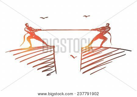 Vector Hand Drawn Opposition Concept Sketch With Two Men Dragging Rope To Different Sides From Oppos