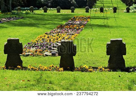 Graves In Springtime On A Cemetery In Germany