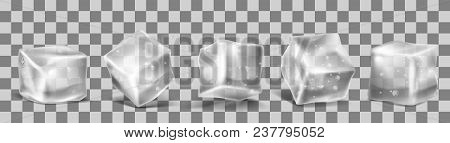 Vector 3d Realistic Ice Cubes Set With Water Drops. Square Transparent Frozen Objects. Frost Blocks
