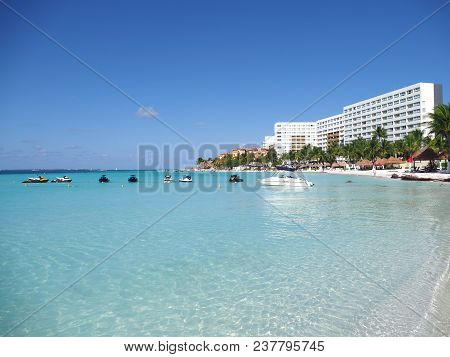 Cancun, Mexico North America On March 2018: Beauty Sandy Beach Panorama At Bay Of Caribbean Sea In M