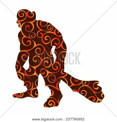 Giant Person Pattern Silhouette Monster Villain Fantasy. Vector Illustration.